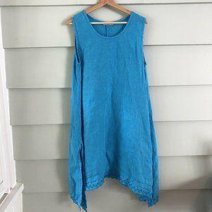 John P.  Greece Blue Handkerchief Linen Dress M